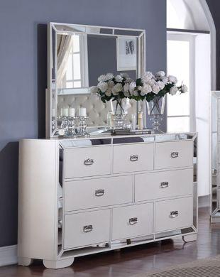 Picture of Gloria - White Dresser & Mirror