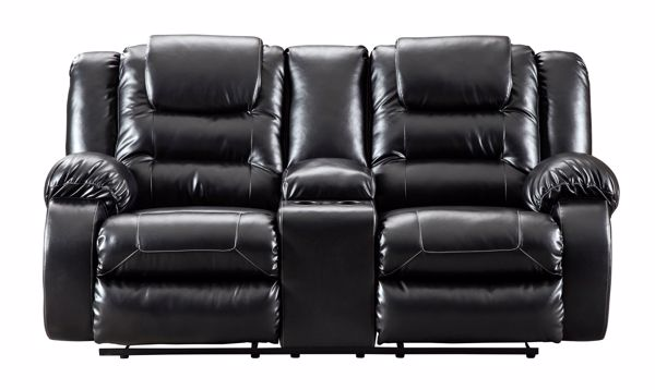 Picture of Vacherie - Black Reclining Console Loveseat