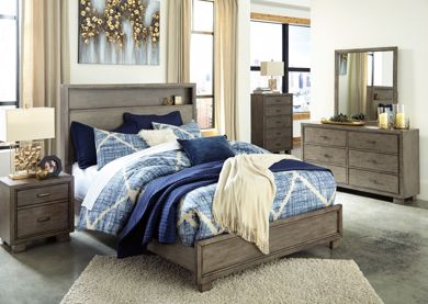 Picture of Arnett - Gray King Bookcase Bed