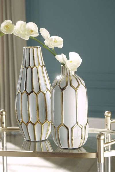 Picture of Mohsen Gold/White 2PC Vase Set