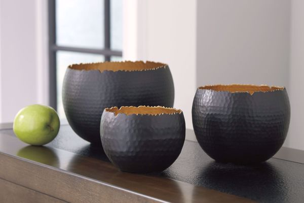 Picture of Claudine Black/Gold 3PC Bowl Set