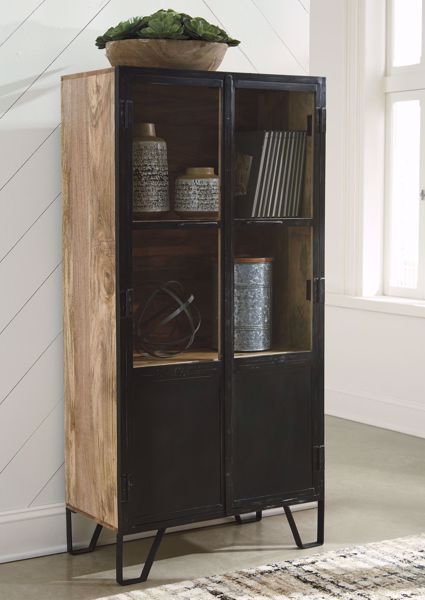 Picture of Gabinwell Black/Brown Accent Cabinet