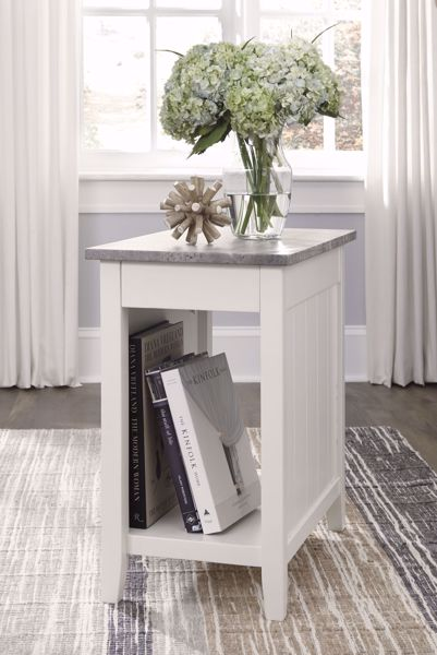Picture of Diamenton - White Marble Chairside Table
