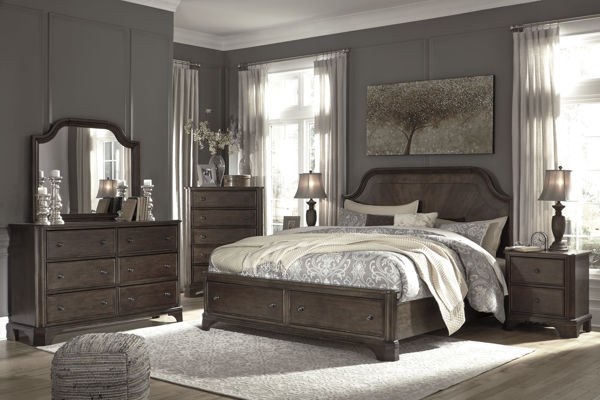 Picture of Adinton - Brown Queen Storage Bed