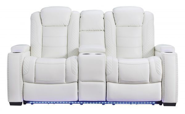 Picture of Party Time - White Power Console Loveseat