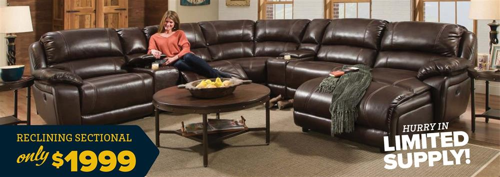 Reclining Sectional for $1999.99!
